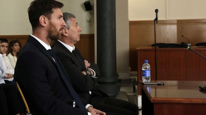 PHOTO: Lionel Messi and Father in Court. Photo Credit: BBC